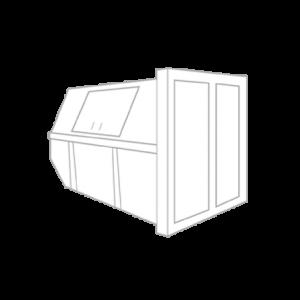 Dakafval container 10m³ gesloten (huisje)